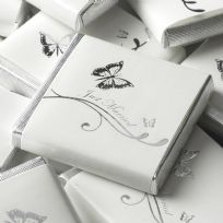 Elegant Butterfly Just Married Chocolate Squares - White & Silver (50)